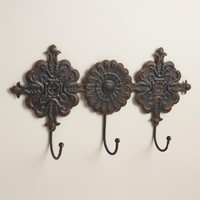 Black Venice Tile 3-Hook Wall Storage