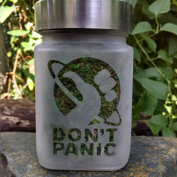 Don't Panic Storage & Stash Jar - Hitchhiker's Guide to the Galaxy -  Novelty Etched Home Decor