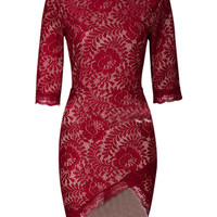 Red Lace Overlay Half Sleeve Wrap Bodycon Dress