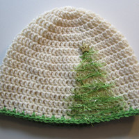 Wool Crochet Hat /Adult - Tree Applique - Ready to ship - Perfect for the Holidays and all winter by CROriginals