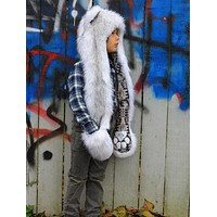 Kids Husky Faux Fur SpiritHood