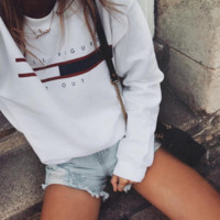 HOT SALE Round neck letters printed long sleeve sweater