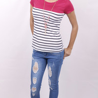 Color Blocked Striped Top: Pink