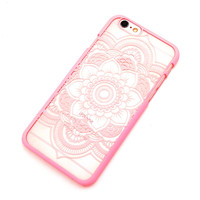 Beautiful Floral Henna Paisley Mandala Palace Flower Pink Phone Back Bumper Cover Case For iPhone 5 5s 5C SE 6 6s 6 Plus 6s Plus