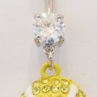 Sports Tennis Ball Covered in Gems Dangle Belly Ring Body Jewelry