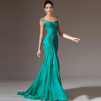 Free Shipping Summer Style Lavender Fishtail  bridesmaid dresses long dress  wedding dress  Strapless gown
