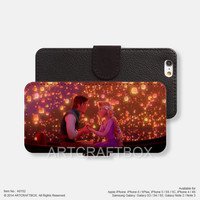 Rapunzel on Boat lanterns iPhone Samsung Galaxy leather wallet case cover 152
