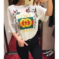 Gucci - White Embroidered Logo T-Shirt
