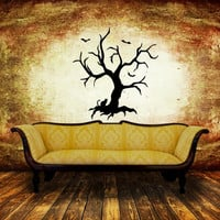 Creepy Spooky Tree with Cat and Bats Halloween Removable Vinyl Wall Decal 22458