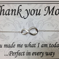 STERLING SILVER 925  bracelet  7 1/2 inch long great gift for mom grandma mom in law with stuning  7 c z