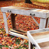 Cottage Chic Reclaimed Console Table | Rustic Sofa Table | Reclaimed Sofa Table | Reclaimed Furniture | Rustic Table | Pallet Sofa Table