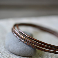 Copper bangle bracelets - set of three stacking copper bangles - hammered copper bracelets - earth tones jewelry - by Alery