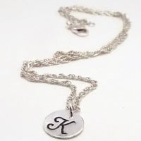 Initial Necklace, Charm Necklace, Silver Necklace, Monogram Necklace, Bridesmaid Gift, Letter Necklace, Silver Initial Charm (Y13)