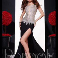 Capped Sleeves Fully Beaded Top Jersey Prom Dress By Panoply 14714