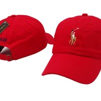 Red Polo Baseball Cap Hat