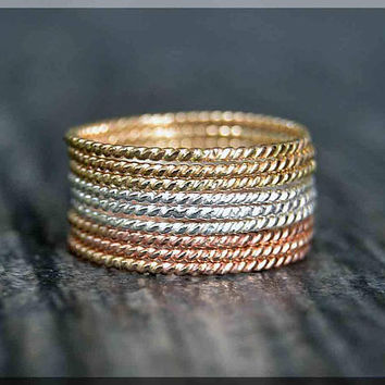 Ultra Thin Tri Color Twist Ring Stack, Set of 9 Rings, Gold Filled Stackable Ring, Hand Textured Ring, Silver Rose Gold and Gold ring