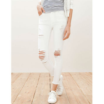 Women's Casual Slim Solid White distressed Jeans
