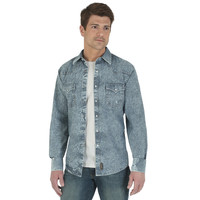 Wrangler® Retro® Long Sleeve Spread Collar Solid Shirt - Chambray