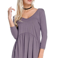 Grant Peplum 3/4 Sleeve Top - Dusty Lilac