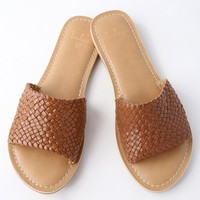 Maddie Luggage Brown Woven Leather Slide Sandals