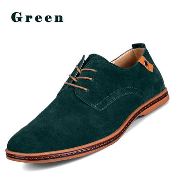 Men Suede Genuine Leather Oxfords Casual Shoes