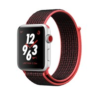 Apple Watch Nike+ GPS + Cellular, 38mm Silver Aluminum Case with Bright Crimson/Black Nike Sport Loop