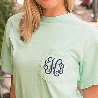 MONOGRAMMED EMBROIDERED POCKET TEE-2X-4X