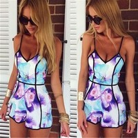 765410 Cute printing v-neck sexy women fashion printing jumpsuits | Candy Blue Shop