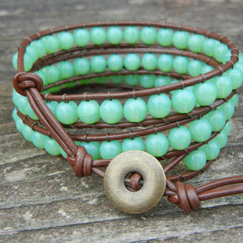 Beaded Leather Wrap Bracelet 3 Wrap with Round Green Czech Glass Beads on Brown Leather Spring