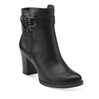 Jolissa Topaz in Black Leather - Womens Boots from Clarks