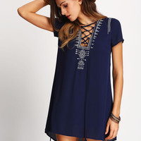 Royal Blue Lace Up Print Front Shift Dress | MakeMeChic.COM
