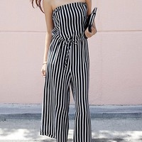 Casual Strapless Vertical Striped Wide-Leg Jumpsuit