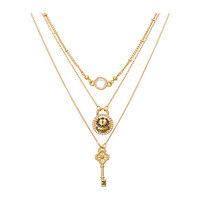 My Flat In London Love Locks 3 Tier Necklace Gold/Stone - Zappos.com Free Shipping BOTH Ways