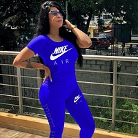 NIKE Women Short sleeve Top Pants Sweatpants Set Two-Piece
