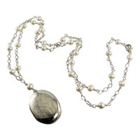 White Freshwater Pearl Sterling Silver Tin Cup Photo Locket Necklace