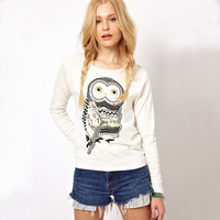 SIMPLE - Women Owl Printed Round Necked Long Sleeve Top a11009