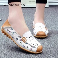 Genuine Leather Shoes Women Ballet Flats Loafers Summer Moccasins Ladies Slip On Casual Flat Shoes Ballerina Blue Zapatos Mujer