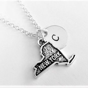 New York necklace personalized initial necklace New York jewelry, NY map necklace friendship, NYC friend no matter where monogram jewelry
