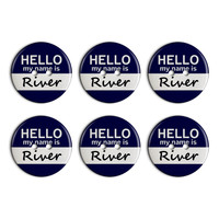 River Hello My Name Is Plastic Resin Button Set of 6