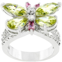 Silvertone Butterfly Cocktail Ring, size : 10