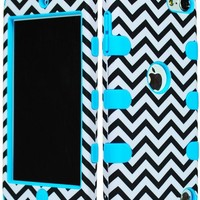 Bastex Hybrid Hard Case for Apple Ipod Touch 5, 5th Generation - Sky Blue Silicone with Black & White Chevron Pattern