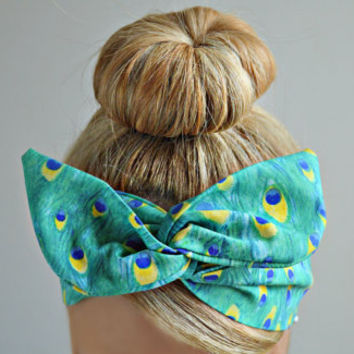 Peacock Dolly bow, hair bow head band, hair bow