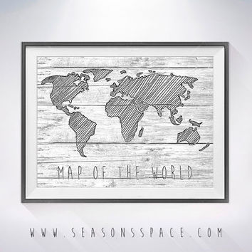 World Map on Wood texture  Art Print, Wall Decor, Rustic Art Decor, Traveler map Explorer gift, World Map on wooden board, Rustic Wall Art