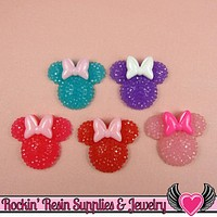 6pc Sparkly Fake Rhinestone MOUSE HEADS with BOW Resin Kawaii Cabochons