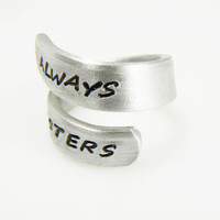 Always Sisters  Aluminum Wrap Ring Hand Stamped