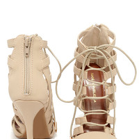 Cage By Surprise Nude Caged Lace-Up Heels