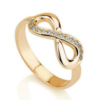 Infinity Ring, Gold  Infinity ring, Promise ring with Swarovski CZ, Eternity Ring, Forever Ring