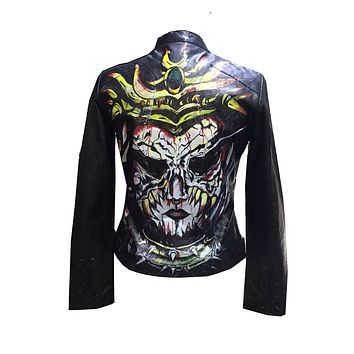 Limited Edition Hand Painted Women Devil face  Leather Jacket