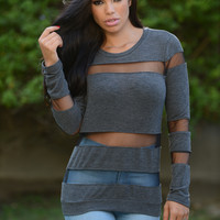 Now You See Me Sweater - Charcoal