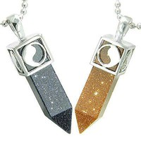 Positive Energy Yin Yang Love Couple Set Magic Amulets Crystal Points Blue and G